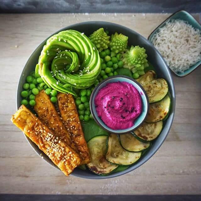 Dies ist eine Buddha Bowl mit Gemüse, Salat und Tempeh.